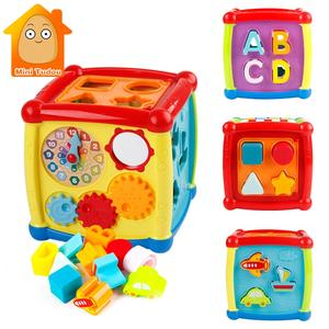 Multifunctional Musical Toys Toddler Baby Box Music Electronic Toys Gear Clock Geometric Blocks Sorting Educational Toys