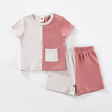 Girls Patches Neck-Shorts T-Shirt Ribbed Baby-Boy Pocket Two-Colors Round with 2pcs Set