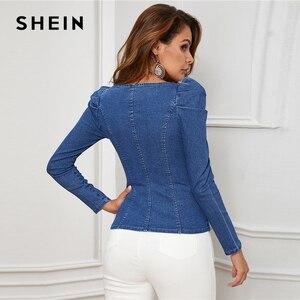 Image 3 - שיין כחול כפתור למעלה פאף שרוול Bustier ינס למעלה חולצה נשים סתיו מתוק צוואר Slim מצויד סקסי חולצות וחולצות