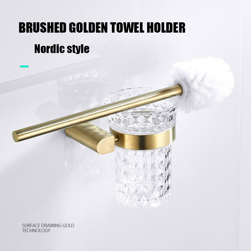 Stainless steel brushed gold toilet brush bathroom wall mounted toilet brush holder hotel toilet cleaning brush crystal cup