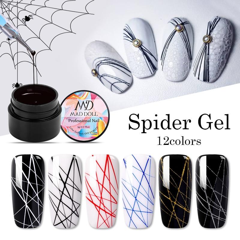 MAD DOLL Painting UV Gel Nail Polish Metallic Spider Liner Polish Soak Off Nail Art Gel Varnish Sparkling Varnish Nail Design 5g