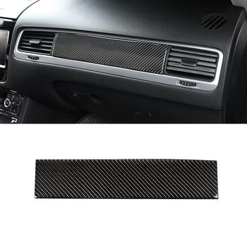 цена на For VW Touareg 2011 2012 2013 2014 2015 2016 2017 2018 Carbon Fiber Car Center Control Passenger Side Dashboard Panel Cover Trim