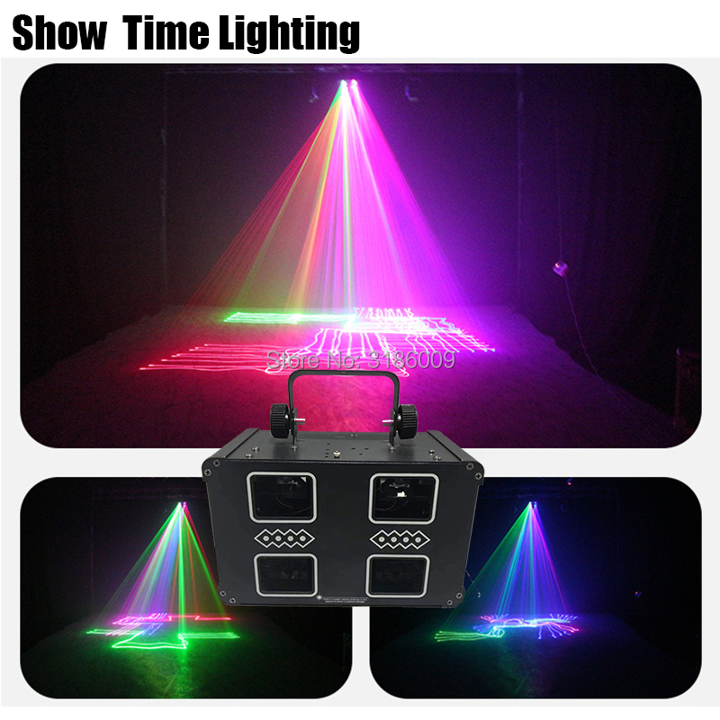 New Arrival RGB 3IN1 Full Color Disco Laser Dj 4Lens Double Floor Line Scan Square Laser Good Use For Home Party KTV Night CLub