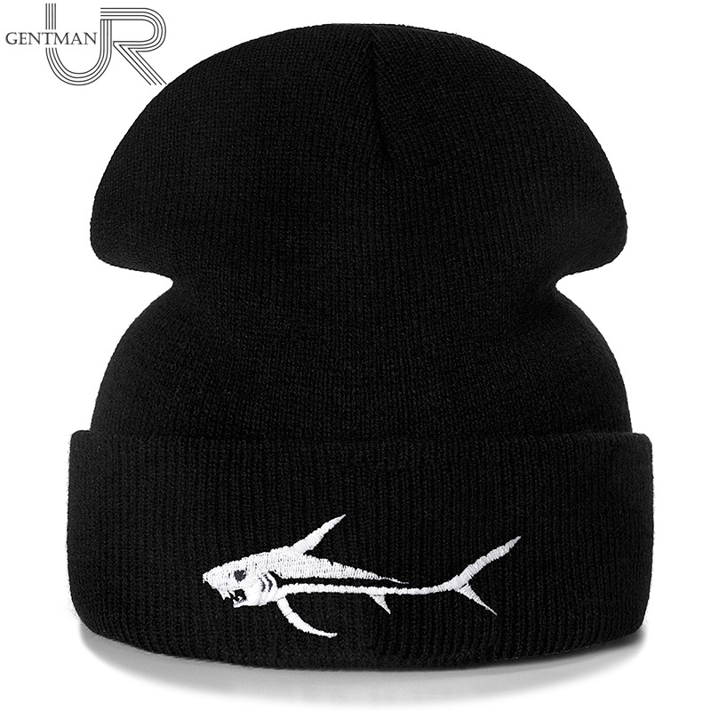 New Shark Embroidery Casual Winter Hats For Men Women Warm Knitted Hat Solid Color Streetwear Beanie Hat Unisex Ski Hat