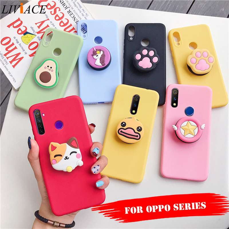 3D cartoon phone holder case for oppo realme xt find x2 pro x lite 3 5 pro soft silicone cute animal stand back cover|Fitted Cases|   - AliExpress