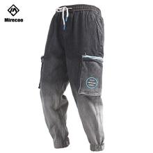 Mirecoo Cargo Baggy Pants Men Gradient Harem Joggers Drawstring Trousers Harajuku Hip Hop Sweatpants Streetwear