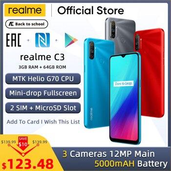 Перейти на Алиэкспресс и купить realme C3 Unlockphone 3 ГБ ОЗУ 64 Гб ПЗУ мобильный телефон MTK Helio G70 12 МП камера 6,5 дюйммини-капля полноэкранный 5000 мАч NFC смартфоны