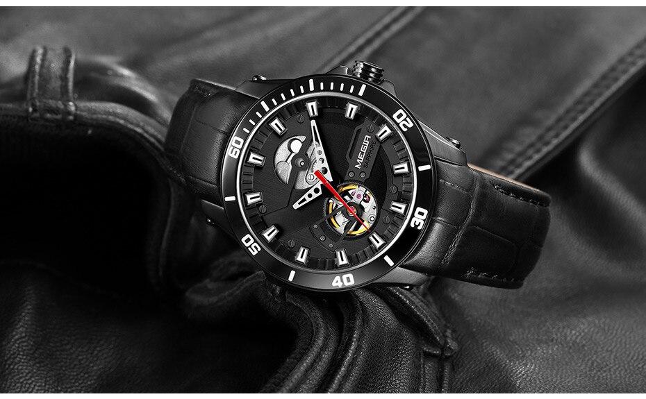 H80835267289141bdb4185ce36f6816f4m MEGIR Men Mechanical Wristwatches Leather Strap Automatic Mechanical