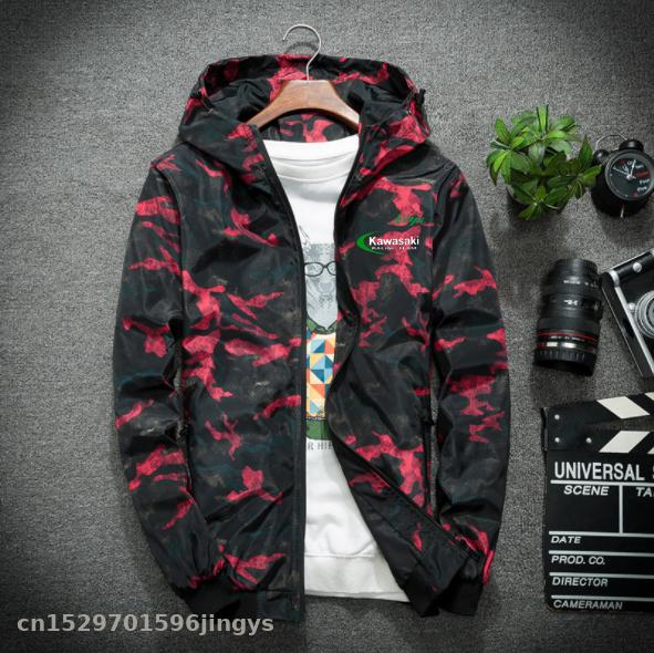 2020 Motorcycle Jacket For Kawasaki Ninja Jackets Camouflage Hooded Outdoor Windproof Mountain Coats Casual Zip
