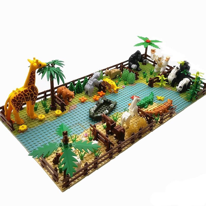 Мини-конструктор игрушечный Монтессори с животными, классические строительные блоки для детей, совместимые с городом, с друзьями, детали Moc,...