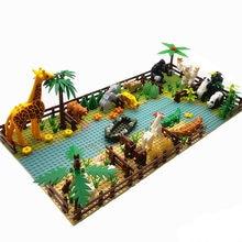 Zoo Animals Mini Classic Building Blocks for Kids Montessori Toys Compatible City Friends Creator Bricks Moc Parts Base Plates