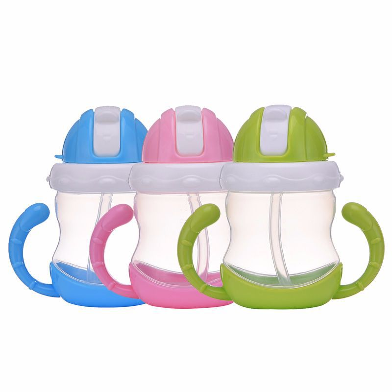 Plastic CHILDREN'S Cups Infants Cup Pp Cup With Straw Baby Learn Drink Training Cup Leak-Proof