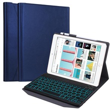 Keyboard For Tablet iPad Pro 9.7 iPad Air 1 2 Detachable Bluetooth Keyboard 7 Color Backlit Russian Keyboard with Pencil Holder case for ipad pro 2020 11 bluetooth keyboard case with pencil holder russian french italian backlit keyboard for ipad pro 2020