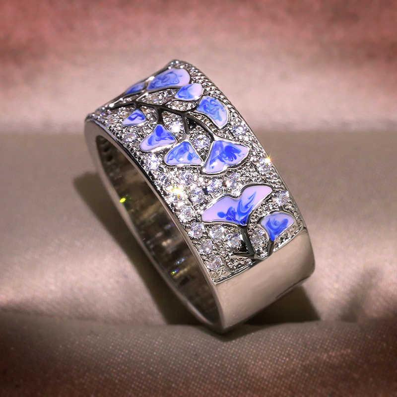 ขายร้อนดอกไม้สีฟ้าสีขาวแหวน Cubic Zirconia STUD ดอกไม้แหวนที่มีหิน Cubic Zirconia เครื่องประดับเคลือบ