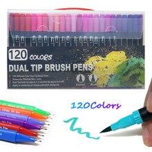 12-120 cor fineliner ponta dupla escova caneta feltro-ponta caneta desenho pintura aguarela arte marcador para artigos de papelaria da escola suprimentos