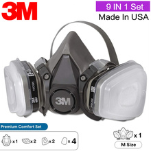 3M 6200 9 In 1 Gas Respirator Headset Anti Organic Steam Vapor Particulate Dust Mask Fog And Haze PM2.5 Protective Set
