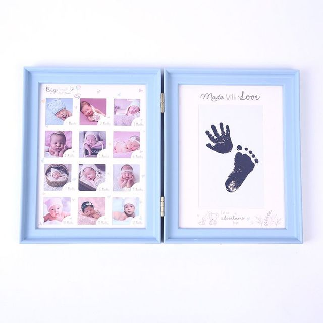 Newborn Baby Hand Foot Ink Pad Print Infants Full Moon Age Growth Photo Frame AXYA