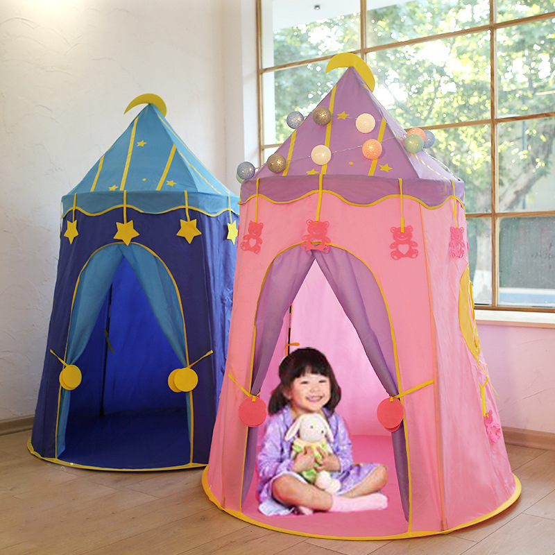 Children Tent Pink Blue Home Decor Play Toy Teepee Magic Star Foldable Fantasy Starry Sky Game House Outdoor Playhouse for Kids