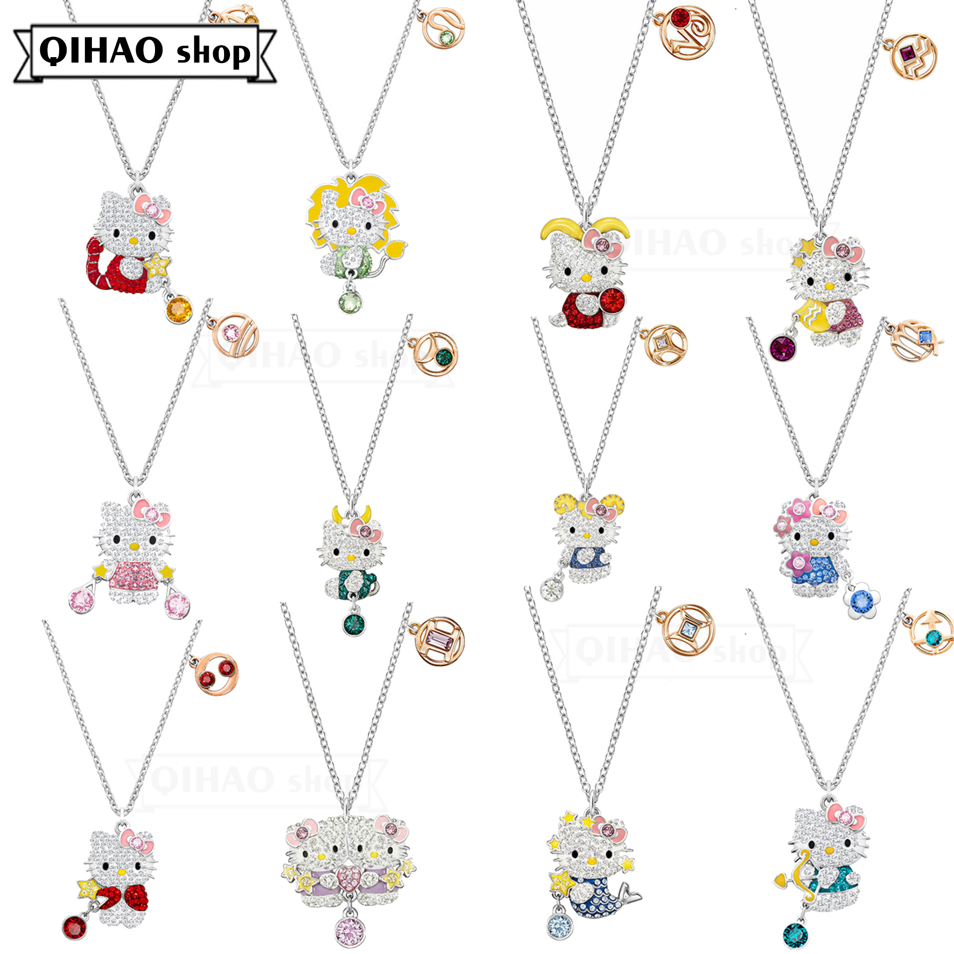 Fashion jewelry high quality SWA cute cat 12 constellation Hello Pendant Necklace simple clavicle Chain Gift