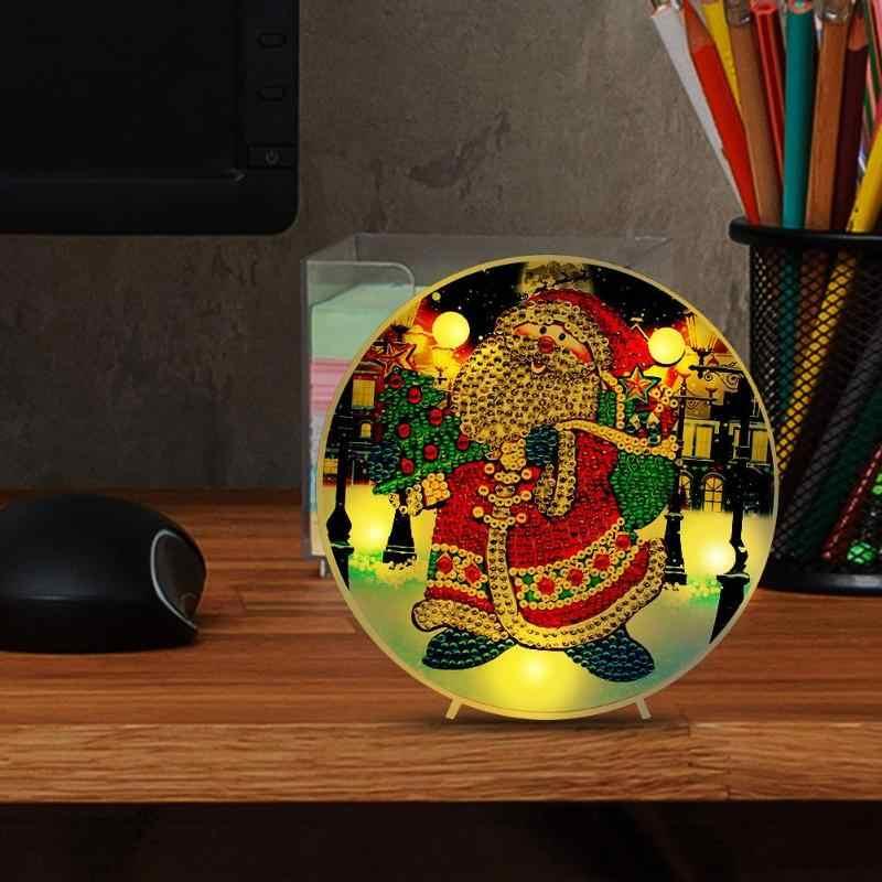 لتقوم بها بنفسك LED خاص على شكل الماس اللوحة سانتا كلوز التطريز أضواء ديكور تأثيث المنزل مهرجان مستلزمات أعياد الميلاد