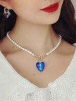 Kshmir-collar con colgante de corazón para niña, Gargantilla corta de color rosa/azul/Cristal, Perla de agua dulce, estilo barroco Vintage, 2021
