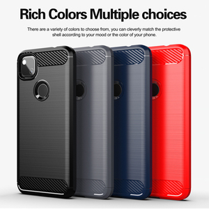 For Google Pixel 4a Case Carbon Fiber Shockproof Anti-knock Soft Silicone Cover for Google Pixel 5 Case for Google Pixel 4XL 5XL