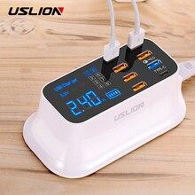 Uslion急速充電 3.0 usb充電ステーション用のledディスプレイとiphoneサムスンxiaomiアダプタ 8 ポートeuプラグ高速usb充電器