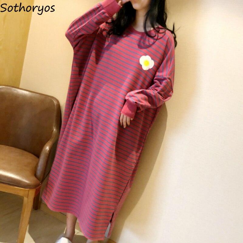 Nightgowns kadınlar eğlence çizgili gevşek artı boyutu 4XL zarif yumuşak kore tarzı bayan Kawaii moda günlük pijama öğrenci şık