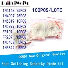 100PCS/LOTE Fast Switching Schottky Diode Kit Set 8values=100PCS 1N4148 1N4007 1N5819 1N5399 FR107 FR207 1N5408 1N5822