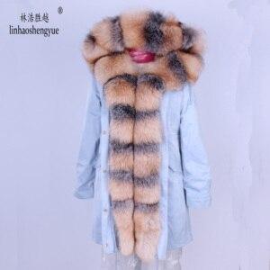 Image 4 - Linhaoshengyue חדש סגנון ארנב פרווה בטנת בגדי נשים 90cm ארוך עם פרוות שועל דלת שליטה