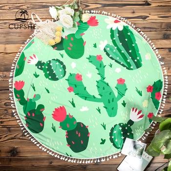 CUPSHE Boho Beach Towels Pineapple Printed 2020 Women Vacation Microfiber Round Fabric Bath Towel With Tassel 8 styles 3
