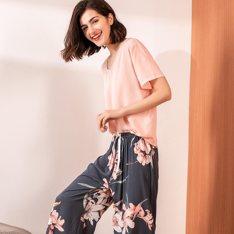 Summer Pajamas Set Women Comfortable Cotton Viscose Contrasting Color Pajamas Short Sleeve Tops With Long Trousers Ladies Pj Set