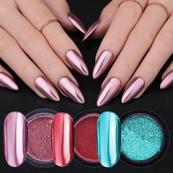 Rose Gold Bubble Mirror Powder Metallic Nail Glitter Holographics Chrome Dust Sparkling Flakes Pigment Manicur Nail Art Decor
