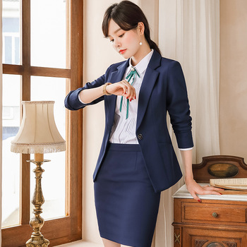 Long Sleeve Formal Uniform Styles Blazers Suits 2 Pieces Tops and Skirt for Ladies Office Work Wear Business Blazer Sets Clothes formal work wear uniform styles professional spring summer business suit vest skirt ol blazers women skirt suits outfits sets