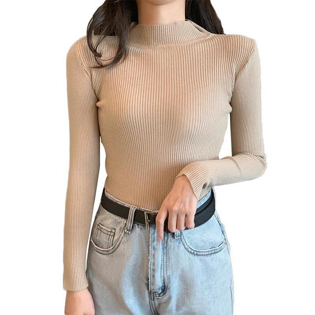 Women Sweaters Autumn Winter Turtleneck Long Sleeve Stretch Blue Knitted Pullovers Fashion Femme Soft Thin Jumper Tops 10 Colors 6