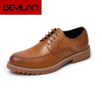 Men Dress Shoes 2019 Spring Quality Men Classic Brock Business Non-Slip Casual Shoes Zapatos de hombre Wedding Shoes Men Shoes