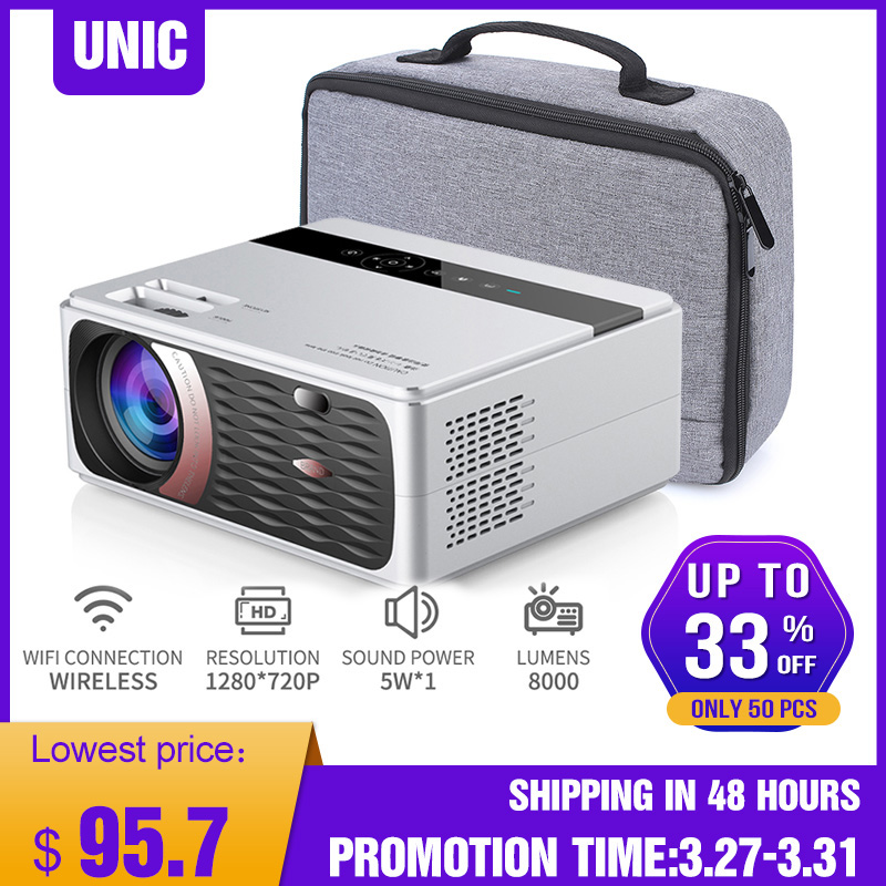 UNIC CP600 1280x720P LED 8000 Lumens Projector 1080P Full HD HDMI WIFI LCD Home Theater Movie Beamer Android Proyector 1