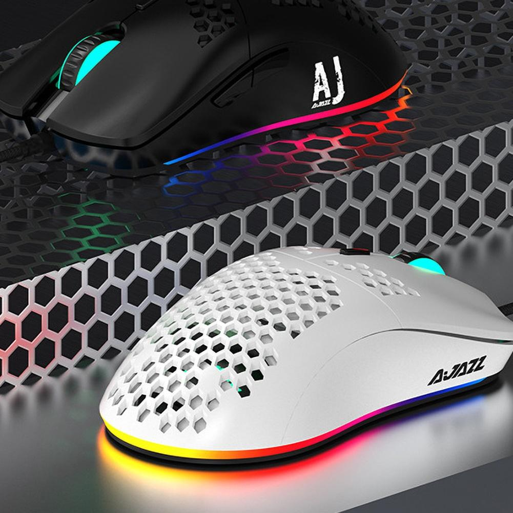 AJ390 Wired Hollow-out 6 LED Light Adjustable 16000DPI 7 Keys Gaming Mouse Mice image