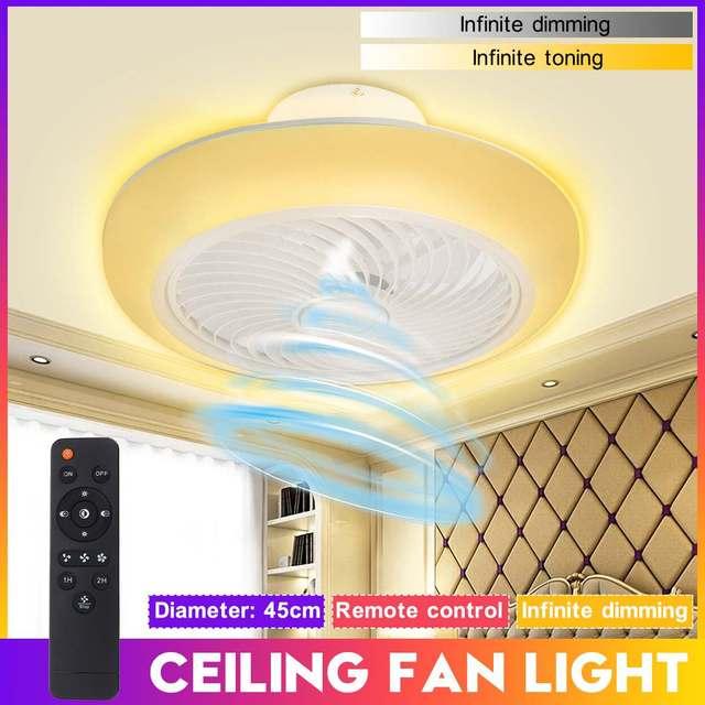 110V/220V Smart Modern Ceiling Fan With Light Remote Control Ceiling Light Fan Lamp for Bedroom Dining Room LED Ventilator Lamp