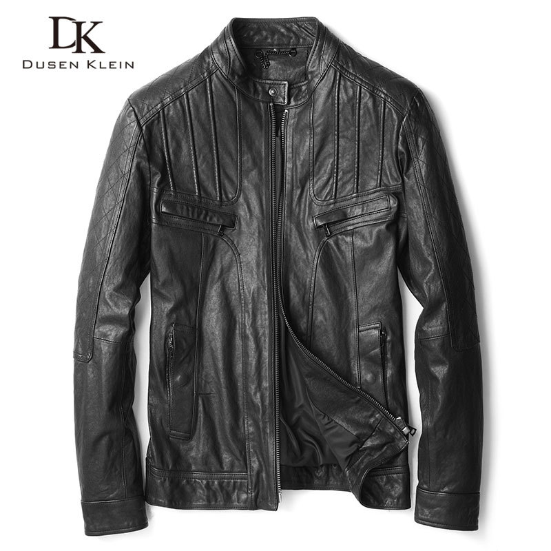 Men Genuine Leather Jacket Real Sheepskin Tanned Leather Jackets 2020 Spring New Biker Jacket Short Slim Fit U6165