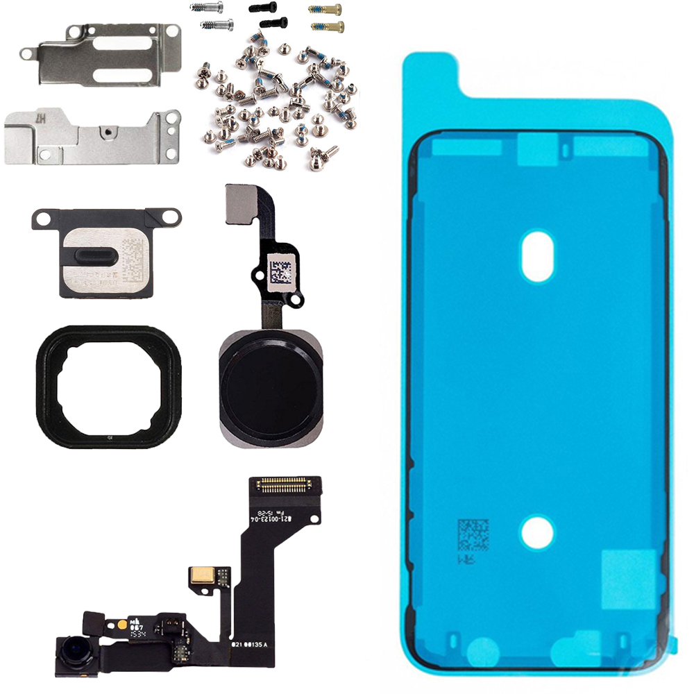 8pcs/set LCD Parts Front Camera Home Button Flex Cable Ear Speaker With Metal Bracket And Full Set Screws For Iphone S6 6s Plus