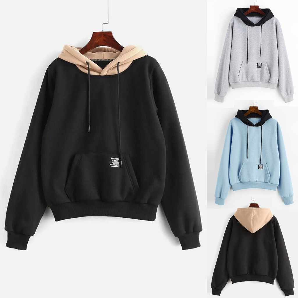 women hoodies sweatshirts Pocket Patchwork Pullover Strappy Hoodie NEW Sweatshirt Pullover Jumper Sweatshirt Hoodies Tops HX0729