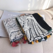 Brand ethnic scarf womens winter autumn Spain style long design print scarf Pashminas Sjaal Muslim Hijab Snood