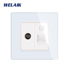 цена на WELAIK Brand Free Shipping TV RJ45 CAT6 Crystal Glass Panel EU Wall TV Computer Socket European Standard Outlet   A18TVCOW