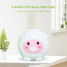 Touch Sensor Colorful LED Sheep Night Light USB Rechargeable Silicone Animal Lamp Bedroom Bedside Lamp for Children Baby Gift touch sensor colorful led cat night light silicone animal table lamp usb rechargeable bedroom bedside lamp for children baby