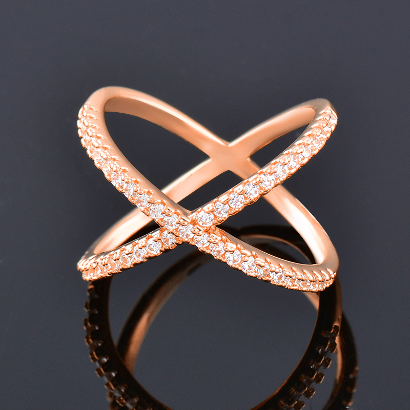 SINLEERY Trendy X Shape Cross Wedding Rings Rose Yellow Gold Silver Color Micro Paved Crystal Rings For Women Jewelry JZ008 3