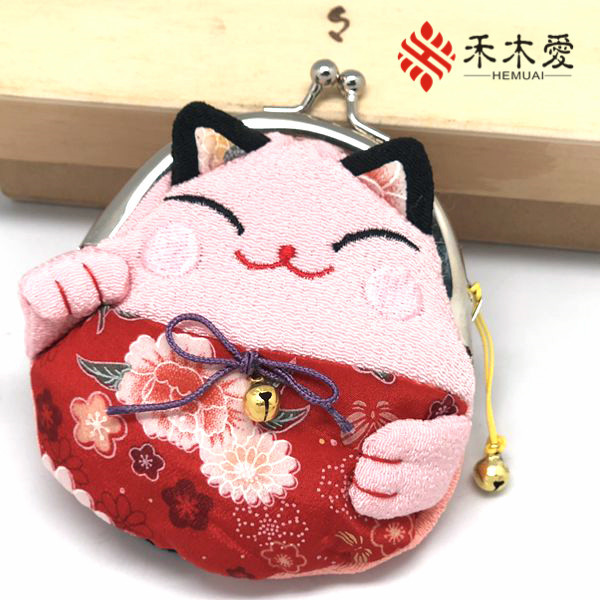 And Wind Fabric Lucky Cat Japan Real Silk Change Coin Bag Wedding Souvenir Buy One Get One Free Fan