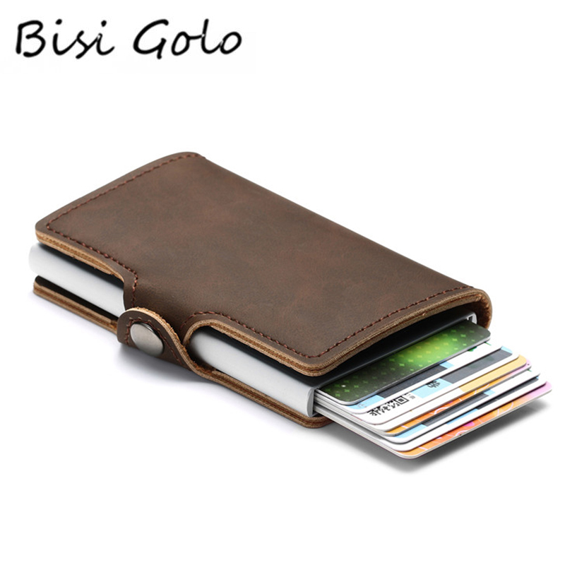 BISI GORO 2019 Wallet PU Leather Card Case Women And Men RFID Credit Card Holders Hasp Vintage Business ID Holder Single Box