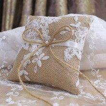 Cojín con encaje y lazo para anillo Vintage estilo europeo para decoración para bodas y compromisos anillos de joyería cojín Vintage de yute de arpillera