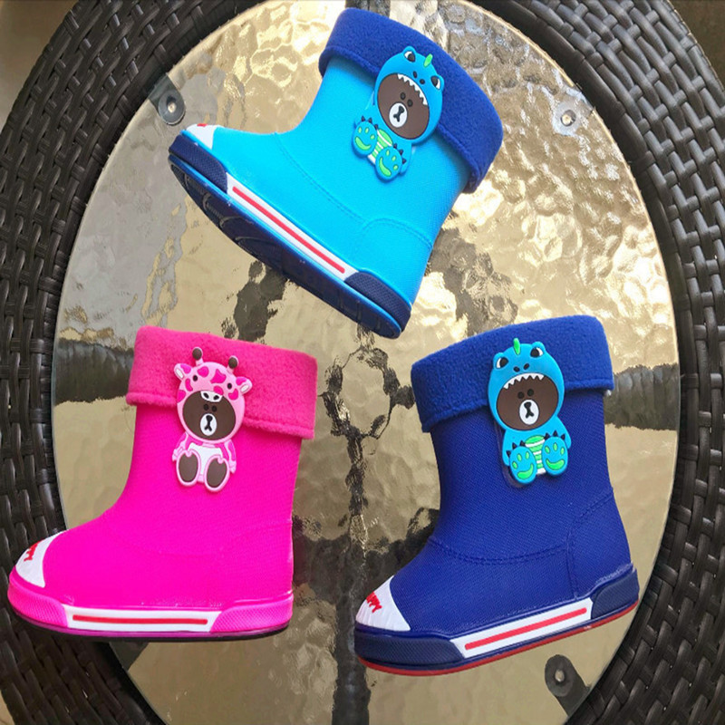 Children's Cute Cartoon Bear Rain Boots Boys And Girls Slip Baby Shoes Winter Waterproof Kids Rubber Rainboots SH19094